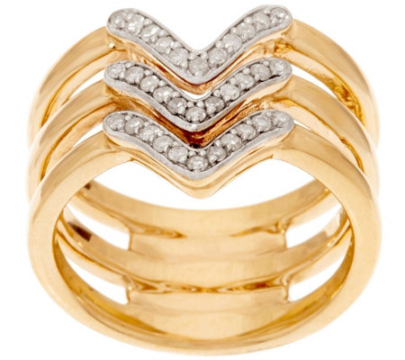 14K Gold Triple Band Chevron Design Diamond Ring, 1/5 cttw