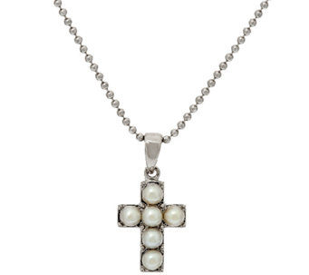 Honora White Cultured Pearl Small Sterling Cross Pendant with Chain - J323012