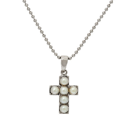 Honora White Cultured Pearl Small Sterling Cross Pendant with Chain