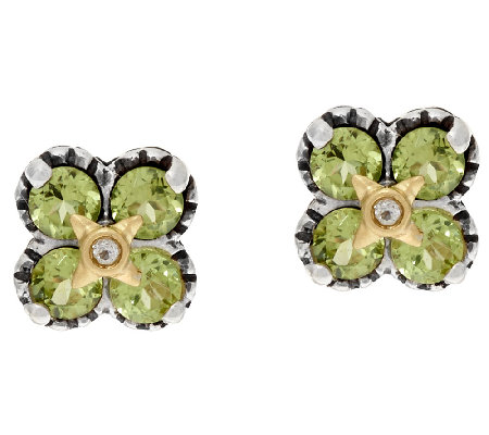 Barbara Bixby Sterling & 18K Gemstone Flower Stud Earrings
