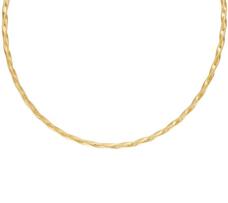 "Italian Gold 20"" Woven Twisted Omega Necklace, 14K"