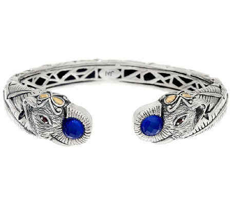JAI Sterling & 14K Double Elephant Head Blue Agate Doublet Cuff