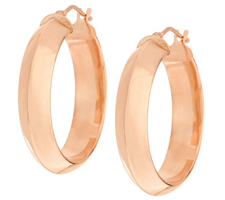 """As Is"" Vicenza Gold Polished Knife Edge Round Hoop Earrings"