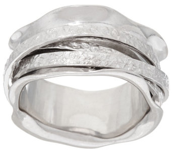 """As Is"" Vicenza Silver Sterling Polished and Textured Spinner Ring - J329012"