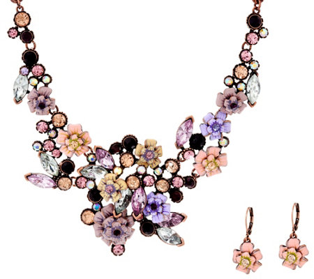 Joan Rivers Language of Flowers Rose Necklace and Earrings Set
