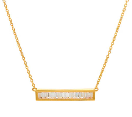 Diamonique Baguette Cut Bar Necklace, Sterling or 14K Clad