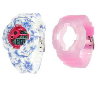JoyJoy Watch w/ Two Interchangeable Skins Large Face - J329412