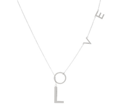 Sterling Silver Love Lariat Necklace by Silver Style
