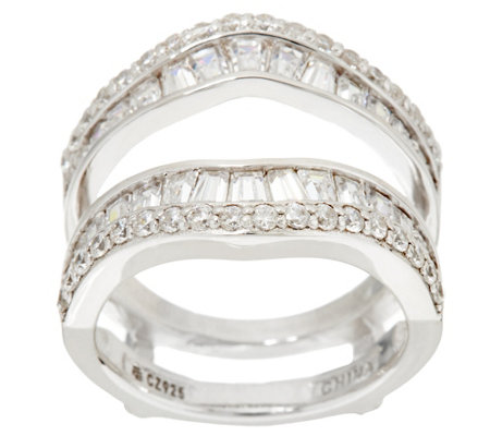 Diamonique Baguette Insert Ring, Platinum Clad