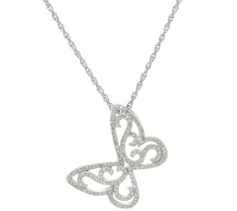 """As Is"" Butterfly Diamond Pendant Sterl. 1/3 cttw by Affinity - J333312"