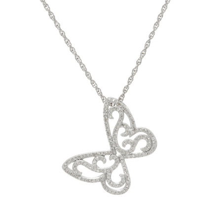 """As Is"" Butterfly Diamond Pendant Sterl. 1/3 cttw by Affinity"
