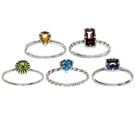 Or Paz Sterling Silver 2.80 Ct. Set of 5 Gemstone Rings