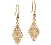 Imperial Gold Lame' Marquise Dangle Earrings 14K Gold - J335112