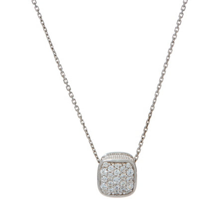 Diamonique Pave' Cushion Pendant with Chain Sterling