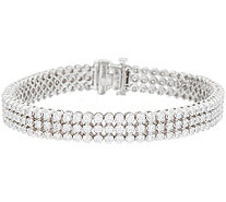 "4.60 cttw Triple Row 8"" Diamond Tennis Braclet, 14K, Affinity - J352112"