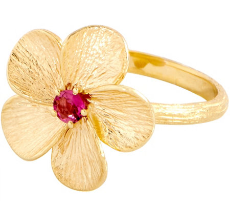 Adi Paz 0.10 ct Pink Tourmaline Flower Ring 14K Gold