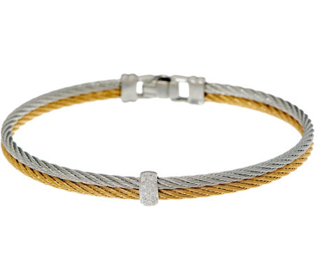 """As Is"" ALOR Stainless Steel & Diamond Two-Row Bracelet"