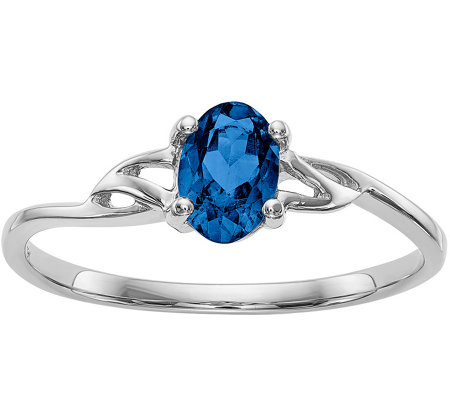 14K White Gold Oval Gemstone Solitaire Ring