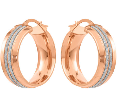 14K Double Glitter-Infused Round Hoop Earrings