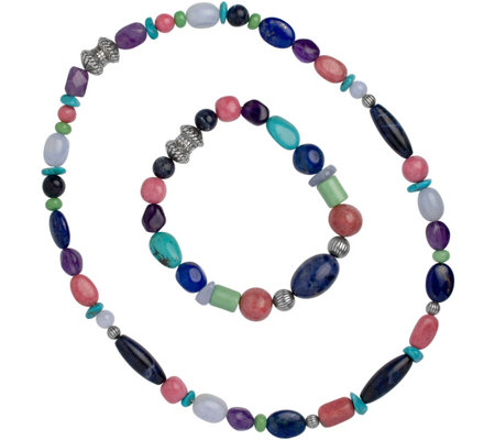Carolyn Pollack Sterling Bead Bracelet & Necklace Set