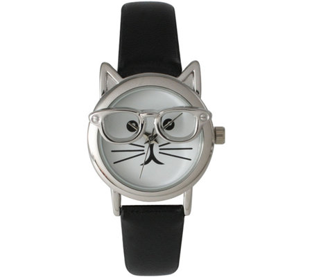 Olivia Pratt Cat-In-Glasses Leather Strap Watch