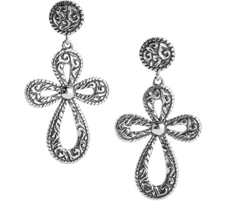 American West Sterling Diamond-Cut Cross DangleEarrings