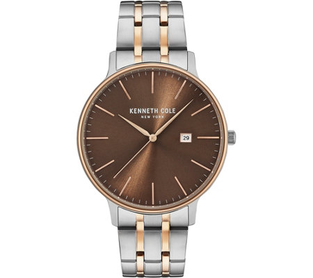 Kenneth Cole NY Men's Brown Two-Tone StainlessBracelet Watch