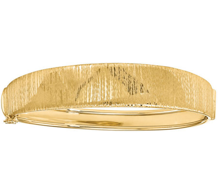 Italian Gold Vertical Textured Round Hinged Bangle 14K, 13.0g