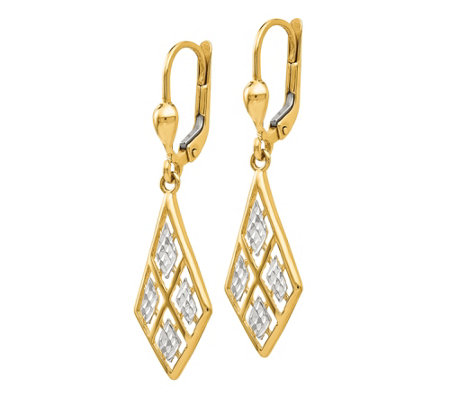14K Gold Two-Tone Diamond-Cut Dangle Earrings