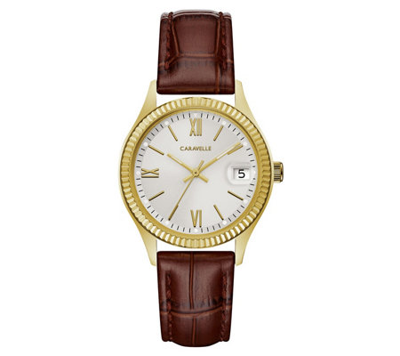 Caravelle Women's Stainless Textured Leather Watch