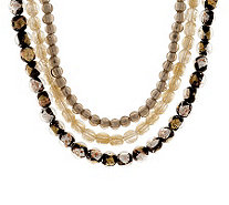 Sterling Triple Strand Glass Bead Necklace - J39212