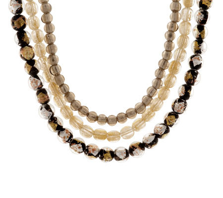 Sterling Triple Strand Glass Bead Necklace