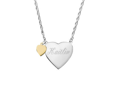 Basch Personalized Sterling Children's Engravedeart Necklace