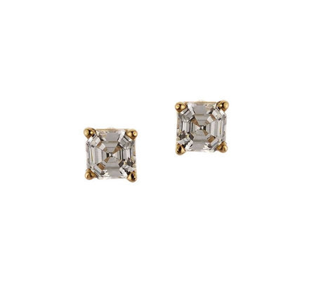Diamonique 0.50 ct tw Asscher Stud Earrings, 14K Gold