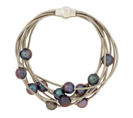 "Honora Cultured Pearl 8"" Multi-strand Scattered Pearl Bracelet"