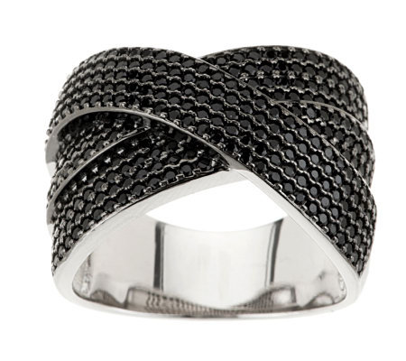 1.50 ct tw Black Spinel Pave' Crossover Multi-Row Sterling Ring