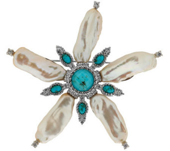 Judith Ripka Sterling Fresh Water Baroque Pearl & Turquoise Pin - J288113