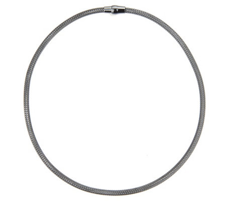 "VicenzaSilver Sterling 18"" Woven Mesh Round Omega Necklace"