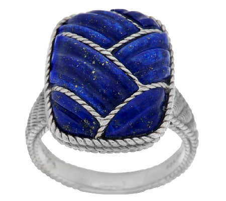 Judith Ripka Sterling Carved Lapis & Rope Detail Ring