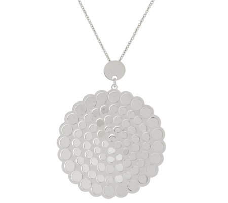 VicenzaSilver Sterl. Polished Dimensional Mirror Disc Pendant w/Chain