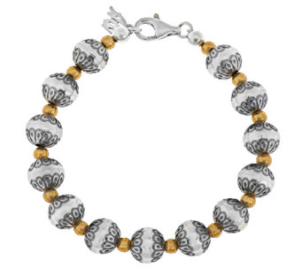 Sterling/Brass Stamped Bead Bracelet by American West - J296813