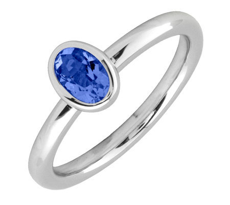 Simply Stacks Sterling & Oval Created-SapphireRing