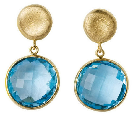 Arte d'Oro Round Faceted Gemstone Dangle Earrings, 18K Gold