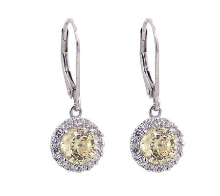 Diamonique & Canary 100-Facet Halo Earrings, Platinum Clad