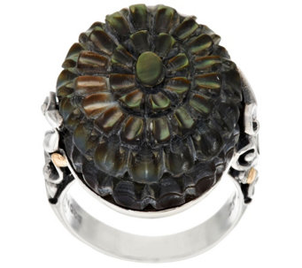 Artisan Crafted Sterling/18K Carved Black Mother-of-Pearl Ring - J317313