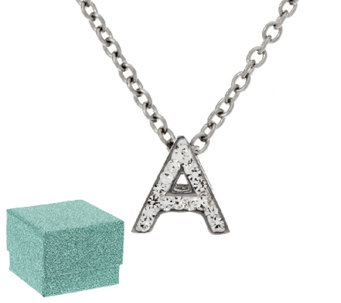 Stainless Steel Mini-Initial Crystal Pendant with Chain - J318213