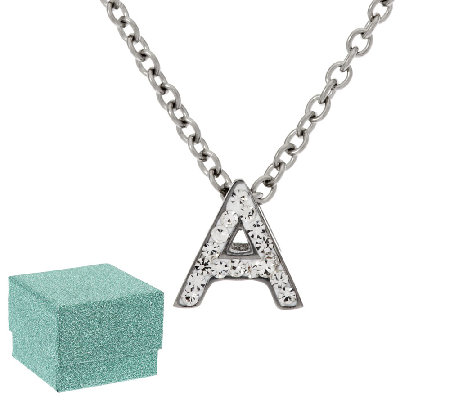 Stainless Steel Mini-Initial Crystal Pendant with Chain