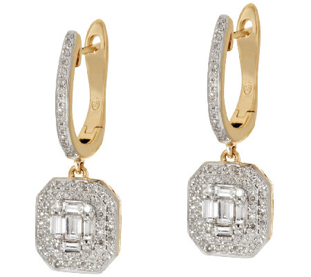 Baguette & Round Halo Drop Diamond Earring 14K, 3/4 cttw, by Affinity
