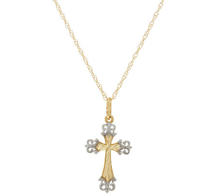 "14K Gold Diamond Cut Two-Tone Cross Pendant w/18"" Chain"