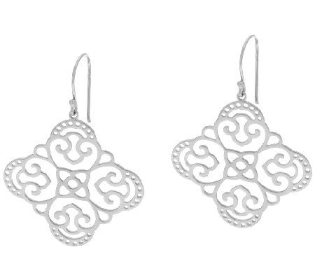 Sterling Silver Polished Open Work Earrings by Silver Style